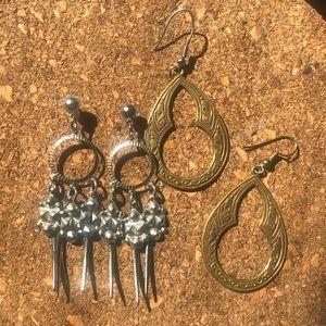2 pairs vintage hook earrings bundle